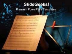 Sheet Music Entertainment PowerPoint Templates And PowerPoint Backgrounds 0711
