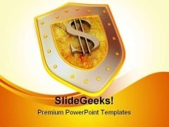 Shield Dollar Business PowerPoint Background And Template 1210