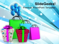 Shopping Bags And Gifts Amusement PowerPoint Templates Ppt Backgrounds For Slides 1112