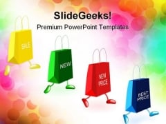 Shopping Bags Running Advertising PowerPoint Templates And PowerPoint Backgrounds 0311