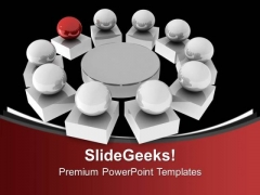 Silver Balls Arranged In Circle With Red Leader PowerPoint Templates Ppt Backgrounds For Slides 0213