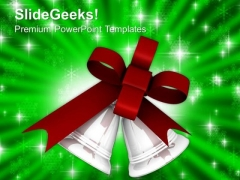 Silver Bells And Maroon Bow PowerPoint Templates Ppt Backgrounds For Slides 1212