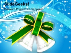 Silver Bells With Green Bow PowerPoint Templates Ppt Backgrounds For Slides 1212