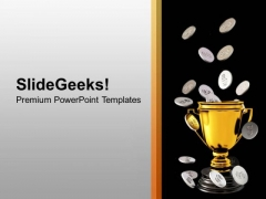 Silver Coins Falling On Trophy Savings PowerPoint Templates Ppt Backgrounds For Slides 0213