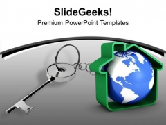 Silver Key Attached With Globe Security PowerPoint Templates Ppt Backgrounds For Slides 0213