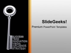 Silver Key With Business Words Success PowerPoint Templates Ppt Background For Slides 1112