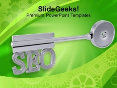Silver Key With Word Seo Business PowerPoint Templates Ppt Backgrounds For Slides 1212