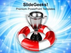 Silver Trophy Under Safeguard PowerPoint Templates Ppt Backgrounds For Slides 0213