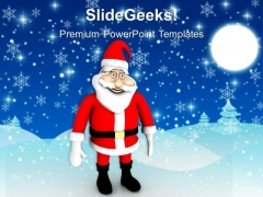 Single Santa Clause Standing Snow PowerPoint Templates Ppt Backgrounds For Slides 1212