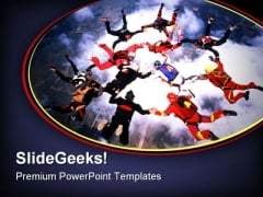 Sky Diving Teamwork PowerPoint Template 0610