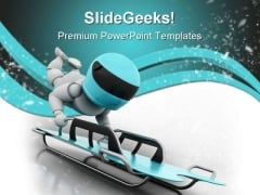 Sleigh Snow Sports PowerPoint Themes And PowerPoint Slides 0611