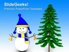 Slidegeeks Snowman In Blue Dress With Tree PowerPoint Templates Ppt Backgrounds For Slides 1212