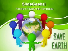 Small People Peace Globe PowerPoint Themes And PowerPoint Slides 0411