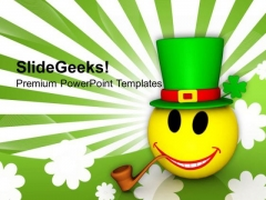 Smiley Emoticon With Hat St Patricks Day PowerPoint Templates Ppt Backgrounds For Slides 0313
