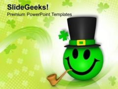 Smiley Emoticon With Patricks Hat PowerPoint Templates Ppt Backgrounds For Slides 0313