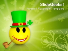 Smiley Emoticons Face With Cigar PowerPoint Templates Ppt Backgrounds For Slides 0213