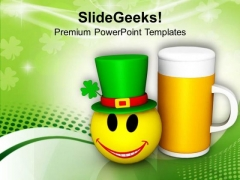 Smiley Face And Beer Mug Celebration Festival PowerPoint Templates Ppt Backgrounds For Slides 0213