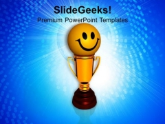 Smiley Face On Golden Trophy Winner PowerPoint Templates Ppt Backgrounds For Slides 0213
