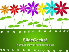 Smiley Flowers Art PowerPoint Templates And PowerPoint Backgrounds 0311