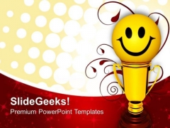 Smiley Trophy For Winner Success PowerPoint Templates And PowerPoint Themes 0912
