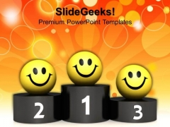 Smileys On Podium Success PowerPoint Templates And PowerPoint Themes 1012
