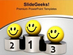 Smileys On Winner Podium Competition PowerPoint Templates Ppt Backgrounds For Slides 0313