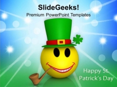 Smiling Emoticon Abstract Patricks Day PowerPoint Templates Ppt Backgrounds For Slides 0313