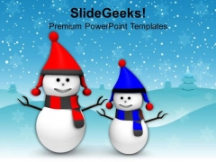 Smiling Snowman On Snowflakes Background PowerPoint Templates Ppt Backgrounds For Slides 1212