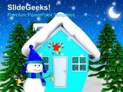 Smiling Snowman With Snowfall Holidays PowerPoint Templates Ppt Backgrounds For Slides 1212