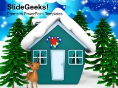 Snow Background With Reindeer Events PowerPoint Templates Ppt Backgrounds For Slides 1212