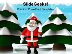 Snow Christmas Tree With Santa Holidays PowerPoint Templates Ppt Backgrounds For Slides 1212