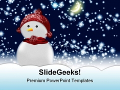 Snow Man01 Christmas PowerPoint Template 0610