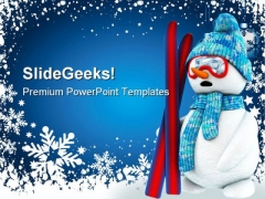 Snow Man Christmas PowerPoint Template 0610