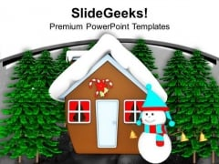 Snow Man Hut Standing With Christmas Tree PowerPoint Templates Ppt Backgrounds For Slides 1212