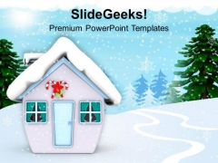 Snow Man Hut Winter Festival PowerPoint Templates Ppt Backgrounds For Slides 1212
