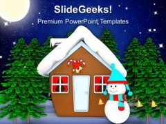 Snow Man Hut With Snow Man Trees PowerPoint Templates Ppt Backgrounds For Slides 1212