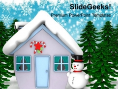 Snow Man Hut With Trees Christmas Eve PowerPoint Templates Ppt Backgrounds For Slides 1212