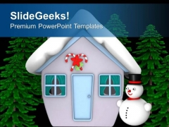 Snow Man Hut With Trees PowerPoint Templates Ppt Backgrounds For Slides 0413