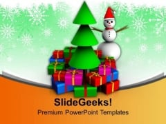 Snow Man With Gifts And Christmas Tree PowerPoint Templates Ppt Backgrounds For Slides 1212