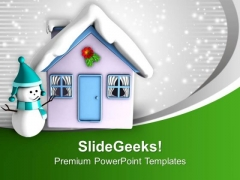 Snowman And House Covered With Snow PowerPoint Templates Ppt Backgrounds For Slides 0113