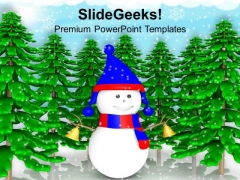 Snowman And Pine Trees Winter Holidays PowerPoint Templates Ppt Backgrounds For Slides 1212
