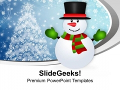 Snowman Cartoon Character X-max PowerPoint Templates Ppt Backgrounds For Slides 0113