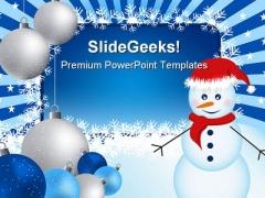 Snowman Christmas Festival PowerPoint Template 1010