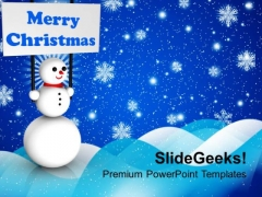 Snowman Holding Banner On Christmas Background PowerPoint Templates Ppt Backgrounds For Slides 1112
