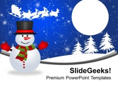 Snowman On Winter Abstract Background PowerPoint Templates Ppt Backgrounds For Slides 1112