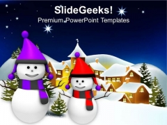Snowman On Winter Abstract Background PowerPoint Templates Ppt Backgrounds For Slides 1212