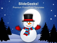 Snowman Waving Hands Holidays PowerPoint Templates Ppt Backgrounds For Slides 1112