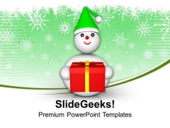 Snowman With Gift Celebration PowerPoint Templates Ppt Backgrounds For Slides 0113