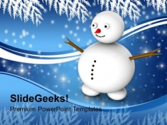 Snowman With Winter Scene Events PowerPoint Templates Ppt Backgrounds For Slides 1112