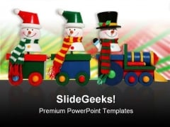 Snowmen On Train Festival PowerPoint Templates And PowerPoint Backgrounds 0811